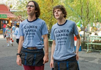 Martin Starr and Jesse Eisenberg in Adventureland