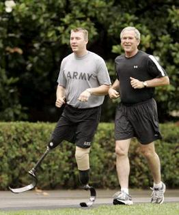 Bush jogging with double amputee