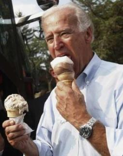 Joe Biden lasciviously eats an ice cream cone