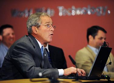 Bush on a video conference