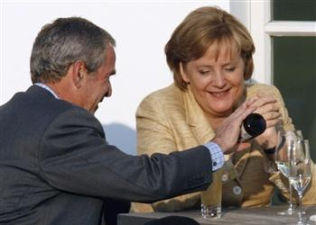 Bush and Merkel at G8