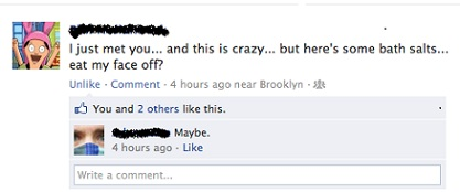 Call Me Maybe Facebook face-eating joke