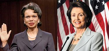 Condi Rice and Nancy Pelosi