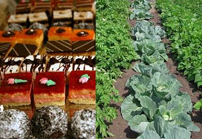 Bite-size desserts vs. vegetable garden