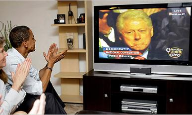 Obama watching Bill Clinton at DNC