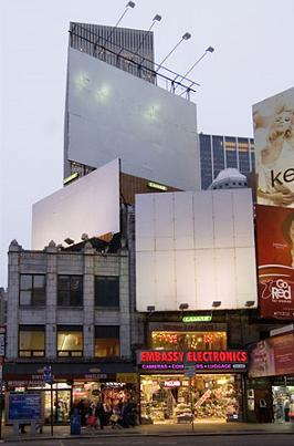 Empty billboards in Times Square