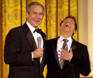 Michael Feinstein laughs at/with George Bush