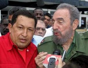 Fidel kissy face with Chavez