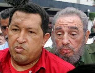 Fidel kissy face and Chavez