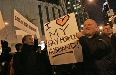 Rally outside Mormon church, NYC