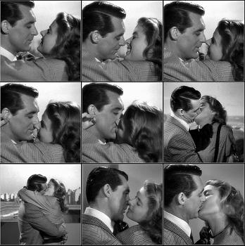 Cary Grant and Ingrid Bergman kiss in Notorious