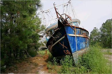 grounded fishing boat