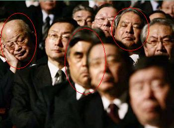 Japanese businessmen snore