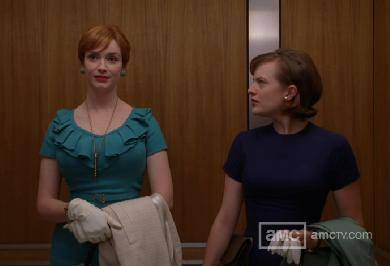 Joan and Peggy in the elevator, Mad Men
