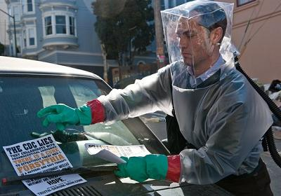 Jude Law's biohazard suit in Contagion