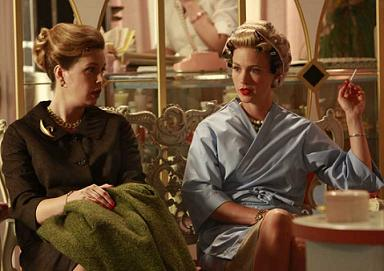 Betty at the hairdresser on Mad Men