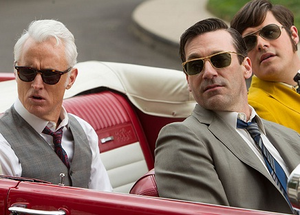 Don, Roger, and Harry in the Mustang on Mad Men