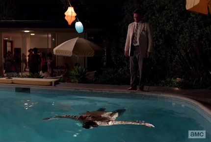 Don floating in a pool on Mad Men