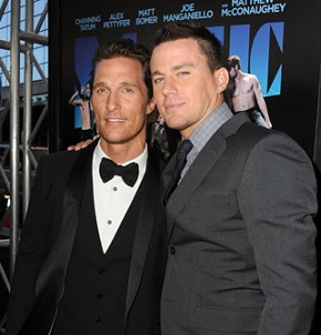 Matthew McConaughey and Channing Tatum at the Magic Mike premiere