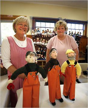 Small town Maine, fisherman dolls