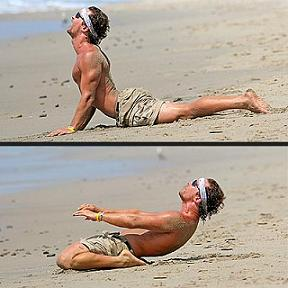McConaughey does yoga on the beach