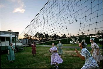 Mennonites playing volleyball