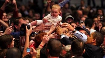 Barack Obama and crowdsurfing baby