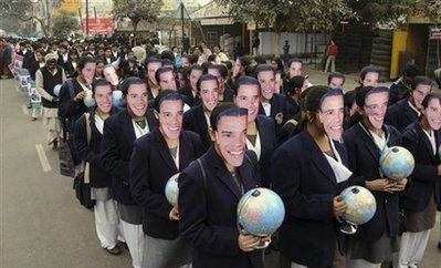 Indian children in Obama masks