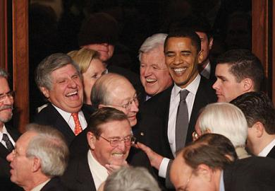 Obama surrounded by other, white Senators