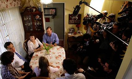 Romney visits a California family
