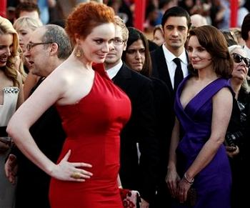 Tina Fey and Chrstina Hendricks at SAG red carpet