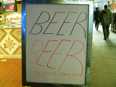 Beer sign at St Patrick's Day parade