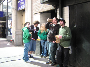 drinking on the street at St Patrick's Day parade