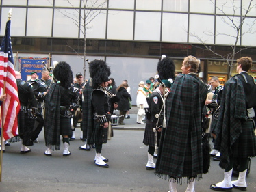Men in a marching band at St Patrick's Day parade