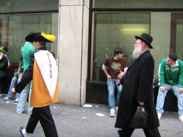 Hasidic guy at St Patrick's Day parade